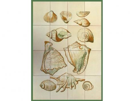 Mural azulejos de cerámica con caracolas