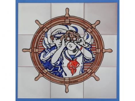 Mural azulejos de cerámica pintado a mano