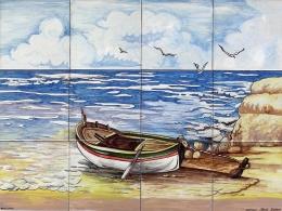 Mural azulejos de cerámica con marina playa