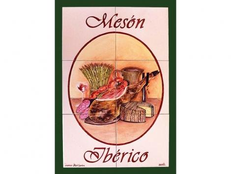 Rótulo de azulejos de cerámica Mesín Ibérico