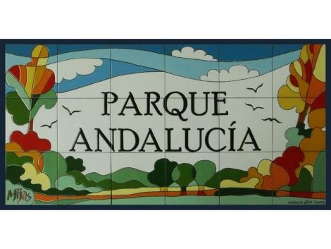 Rótulo de azulejos de cerámica para Parque