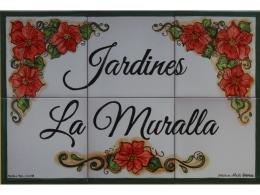 Rótulo de azulejos de cerámica para Jardines
