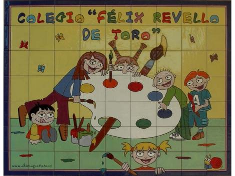 Rótulo de azulejos de cerámica para colegio