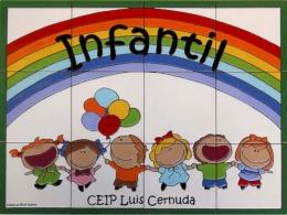 Rótulo de azulejos de cerámica para colegio infantil