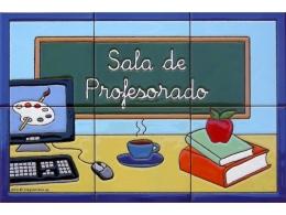 Rótulo de azulejos de cerámica para sala de profesores de colegio
