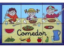 Rótulo de azulejos de cerámica para comedor de colegio
