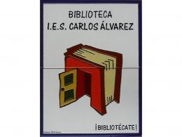 Rótulo de azulejos de cerámica para biblioteca de  colegio