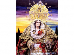 Mural de azulejos de cerámica Virgen de la Amargura