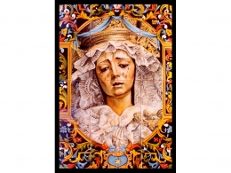 Mural de azulejos de cerámica Virgen de Sevilla
