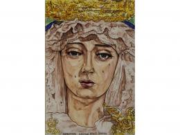 Mural de azulejos de cerámica Virgen Lágrimas y Favores