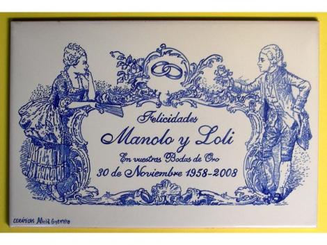 Rotulación en placa de cerámica para bodas de oro