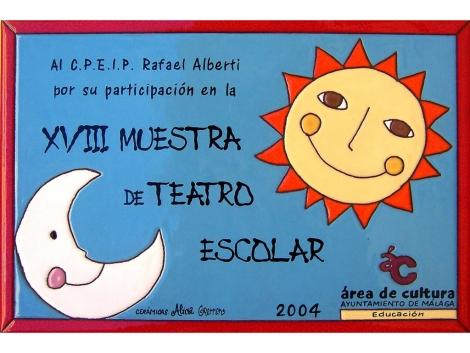 Premio realizado en plaqueta de cerámica muestra de teatro