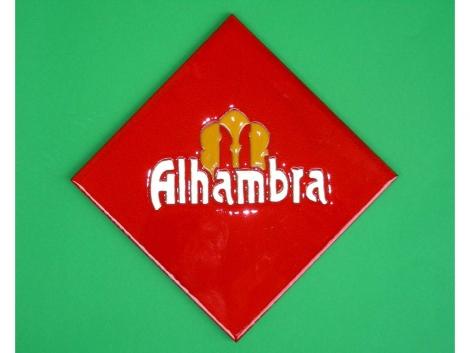 Azulejo de cerámica con logotipo Alhambra