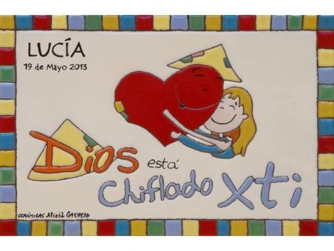 Placa de cerámica religiosa  Recuerdo de mi primera comunión