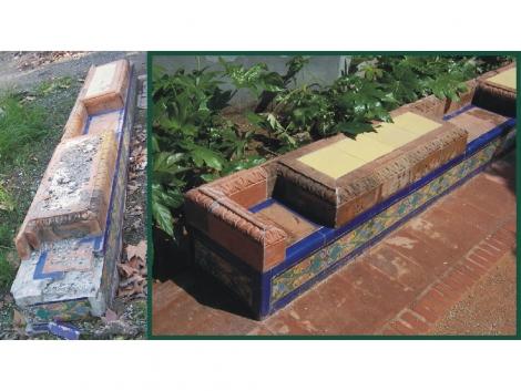 Restauración y sustitución de azulejos de ceramica parque de Málaga