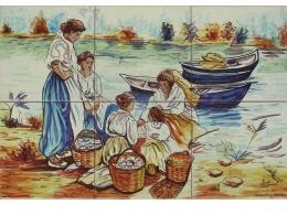 mural,ceramica,pescadoras,decorativo,azulejo,tradicional,rustico,pintadoamano,artesano,artesania,paisaje,copia,vista,copo,mar,mujeres,playa
