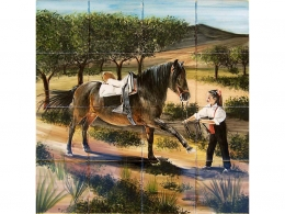 mural,ceramica,decorativo,azulejo,niña,doma,caballo,campo,personalizado,tradicional,rustico,pintadoamano,artesano,muraldeceramica,muralceramico,porencargo