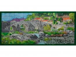 mural,ceramica,decorativo,azulejo,reproduccion,vista,pintadoamano,artesano,vista,puente,porencargo,paisaje,campo,copia,rustico,artesania,tile,ceramic,muraldeceramica,muralceramico