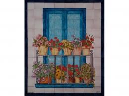 color,ceramica,decorativo,azulejo,reproduccion,obras,pintadoamano,artesano,muraldeceramica,muralceramico,porencargo,moderno,arte,copia,tile,ceramic,flores,balcon,azul,macetas