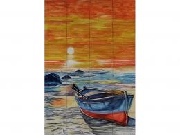 mural,ceramica,azulejo,barca,sol,playa,mar,decorativo,reproduccion,marino,pintadoamano,artesano,muraldeceramica,muralceramico,porencargo,moderno,original,copia,tile,ceramic