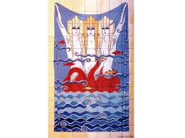 mural,ceramica,azulejo,sirenas,azul,erte,mar,decorativo,reproduccion,marino,pintadoamano,artesano,muraldeceramica,muralceramico,porencargo,moderno,original,copia,tile,ceramic