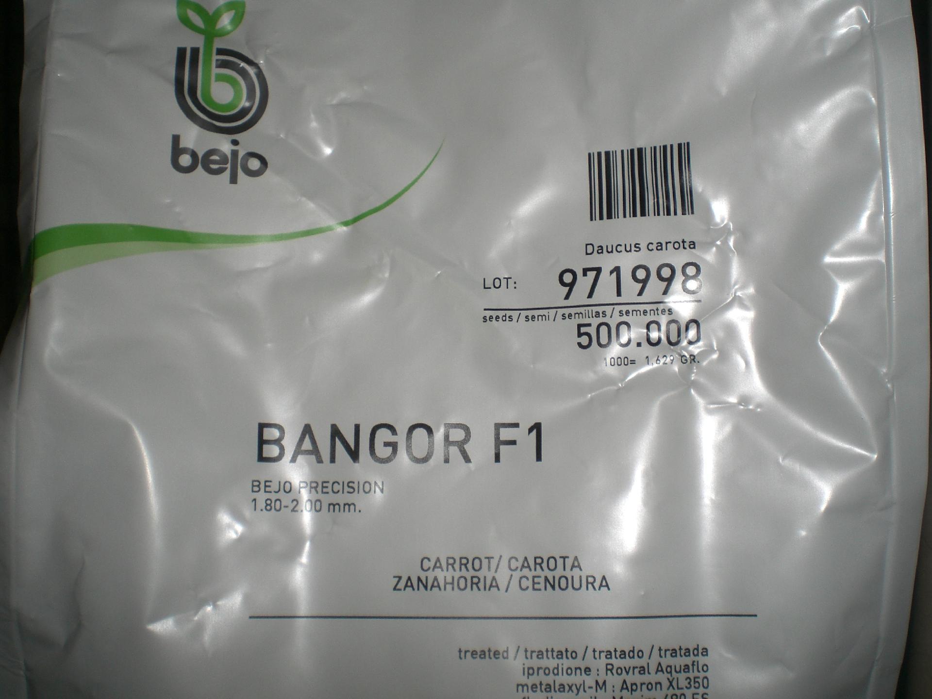 ZANAHORIA BANGOR F1 Precisión (500.000 Semillas Cal. 1.8 - 2.0 mm.).