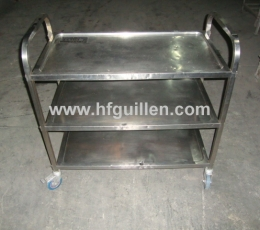 3-SHELF STAINLESS STEEL TROLLEY WITH WHEELS