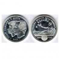 Moneda de 2000 pesetas de plata del año 2001