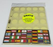 5 Hojas guarda monedas de 2 euros. 25 espacios.