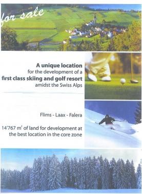 PLOT OF LAND IN SWITZERLAND FLIMS-LAAX-FALERA AREA