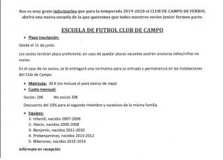 ESCUELA DE FÚTBOL CLUB DE CAMPO