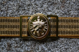 BELT EMBROIDERED IN GOLD WHEEL WITH GOLDEN BUCKLE