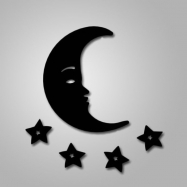 Figura metálica Luna y Estrella