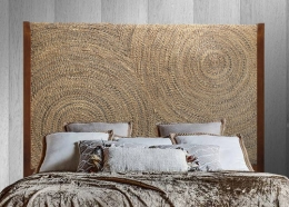 Cabecero tapizado-madera-ratán