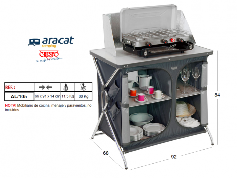 Mueble cocina camping crespo 105 aracat camping for Recambios muebles cocina