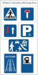 Señal tráfico cuadrada y rectangular para carretera