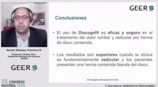 Nueva ponencia GEER 2021: Resultado del uso de DISCOGEL® en pacientes con dolor Radicular