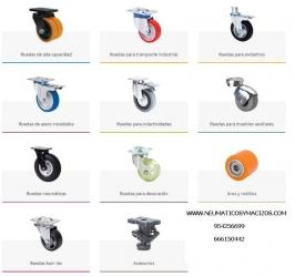 Ruedas de alta capacidad, transporte industrial, ruedas para andamios, ruedas de acero inoxidable, ruedas para colectividades, ruedas para muebles auxiliares,  ruedas para decoración, ruedas twin lex y accesorios.