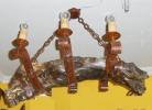 Lámpara 6 luces de raíz de olivo y forja.