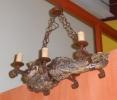 Lámapra 6 luces de raíz de olivo y forja.