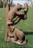Escultura osos de madera