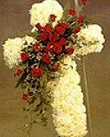 CROSS OF CARNATIONS AND ROSES