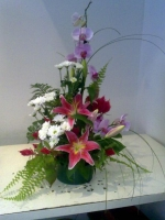 FRESH ORCHID AND FLOWER ARRANGEMENT