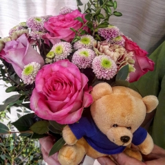 SPRING BOUQUET AND TEDDY BEAR