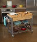 Carrito mesa auxiliar rectangular Super madera y acero