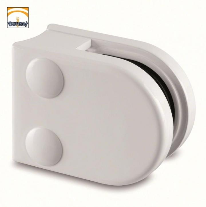 Pinzas Zamac blanco Ral9016 Modelo 20 para barandilla de vidrio
