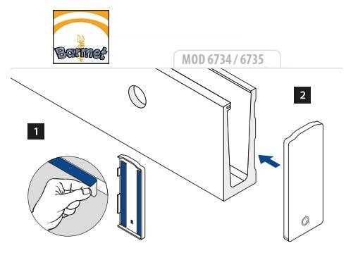 Esquema de montaje de la tapa de zamac en la barandilla Easy Glass Slim