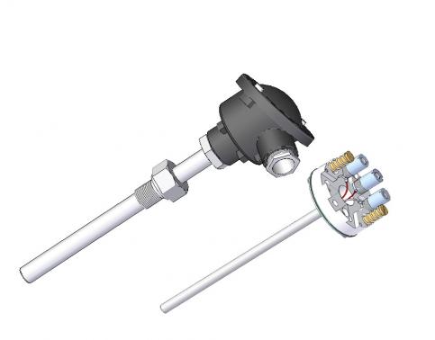 Termorresistencia protección acero inox con y elemento desmontable según DIN 43762