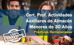 FORMACIÓN PLUS - Cert. Prof. Actividades Auxiliares de Almacén menores de 30 años