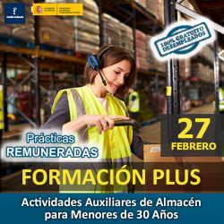 DESEMPLEADOS   FORMACIÓN PLUS - Certificado Profesionalidad Actividades Auxiliares de Almacén